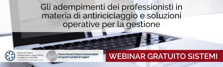 """Webinar """"Gli adempimenti dei professionisti in materia di antiriciclaggio"""" con l'ODCEC e l'UGDCEC di Cagliari."""