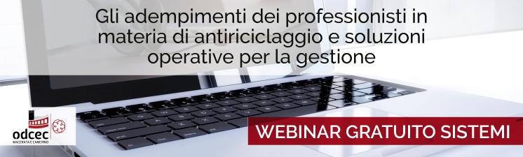 """Webinar """"Gli adempimenti dei professionisti in materia di antiriciclaggio"""" con l'ODCEC di Macerata."""